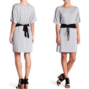 vanity room // corset tie waist t-shirt gray dress